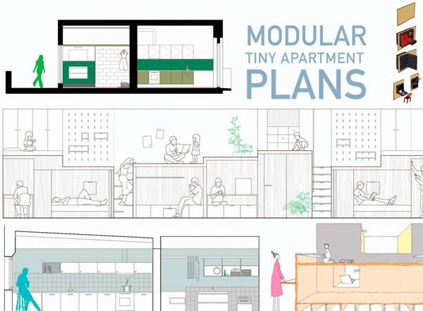 Modular tiny apartment plans